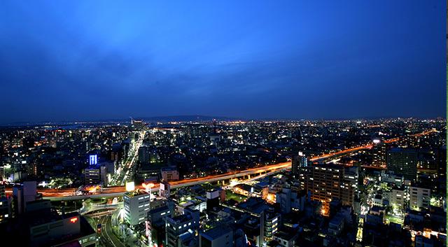 Town panorama of Sakai